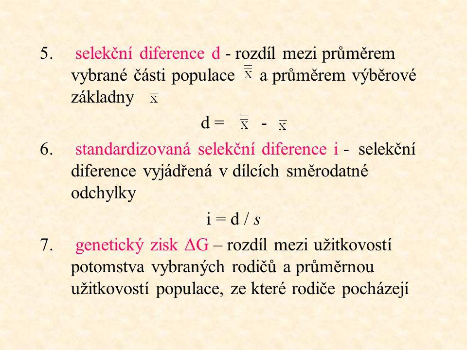 5. selekční diference d - rozdíl mezi průměrem vybrané části populace a průměrem výběrové základny d = - 6. standardizovaná selekční diference i - sel