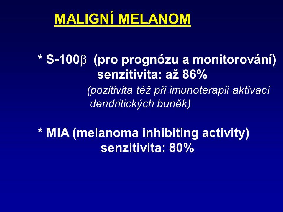 Nádory thyreoidey * Kalcitonin (nádory z C-buněk) * Thyreoglobulin * CEA