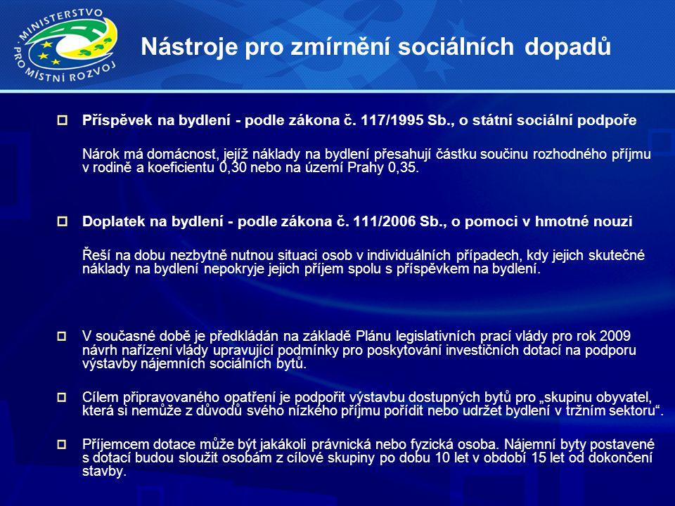 Nástroje pro zmírnění sociálních dopadů Příspěvek na bydlení - podle zákona č.