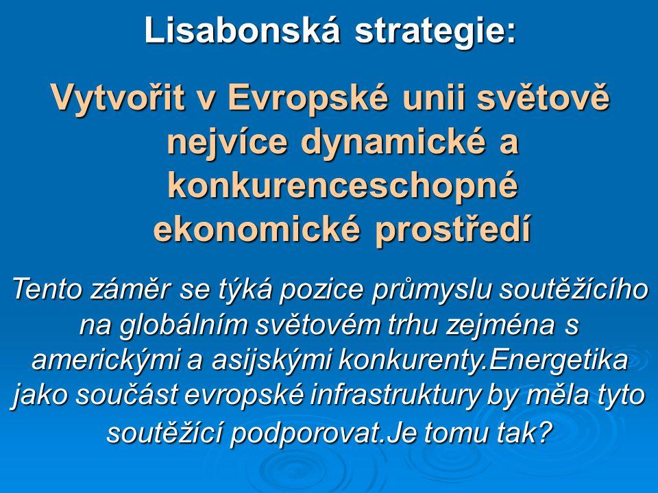 Vývoj trhu s energiemi v Evropě  Konsolidace a globalizace energetických odvětví, problémy evropské přenosové sítě, vznik oligopolů s dominantním postavením na národních trzích,  Politické a administrativní překážky výstavby nových zdrojů elektřiny,poptávka dohání nabídku  Systém dotací a subvencí na výrobu energií z obnovi- telných zdrojů působící proti pravidlům volného trhu  Vznik a alokace povolenek emisí CO2 jako další překážka výstavby nových zdrojů, Důsledkem je prudký nárůst cen energií,který dáleurychlují ekologické přirážky.To vyvolává a pokles konkurenceschopnosti evropského průmyslu
