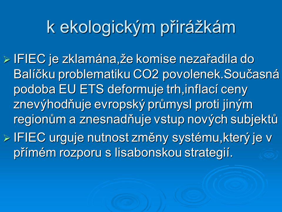 k ekologickým přirážkám  IFIEC je zklamána,že komise nezařadila do Balíčku problematiku CO2 povolenek.Současná podoba EU ETS deformuje trh,inflací ce