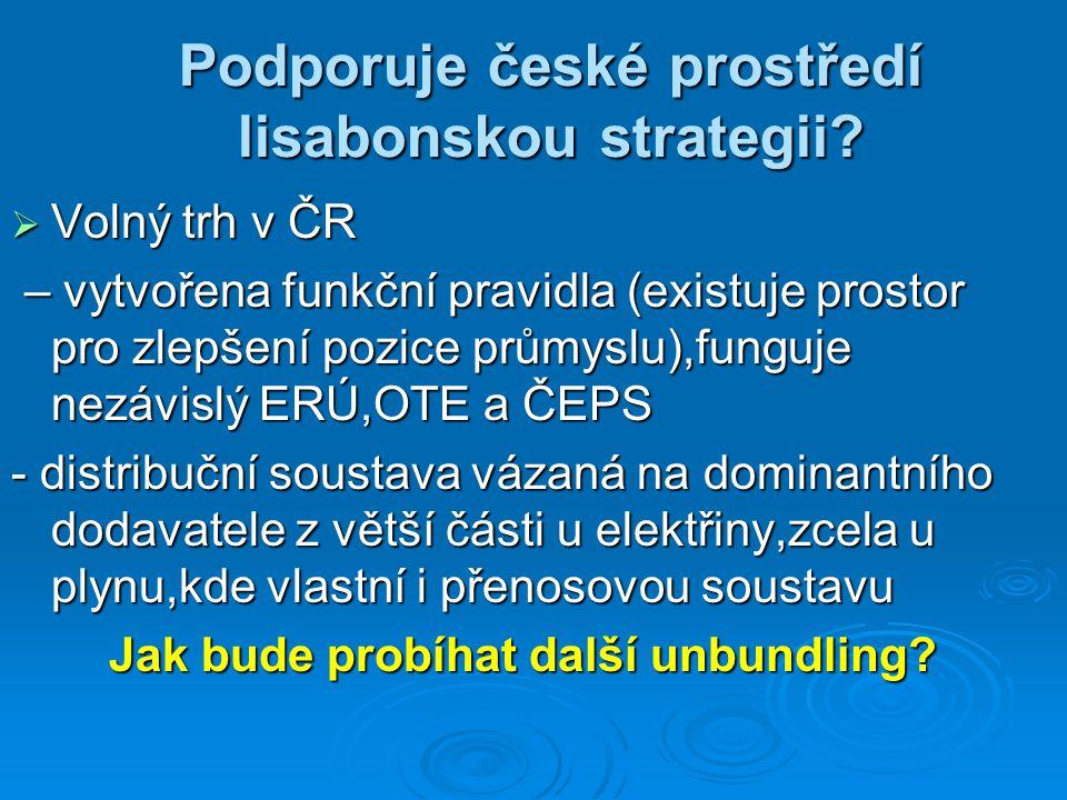 Podporuje české prostředí lisabonskou strategii?  Volný trh v ČR – vytvořena funkční pravidla (existuje prostor pro zlepšení pozice průmyslu),funguje