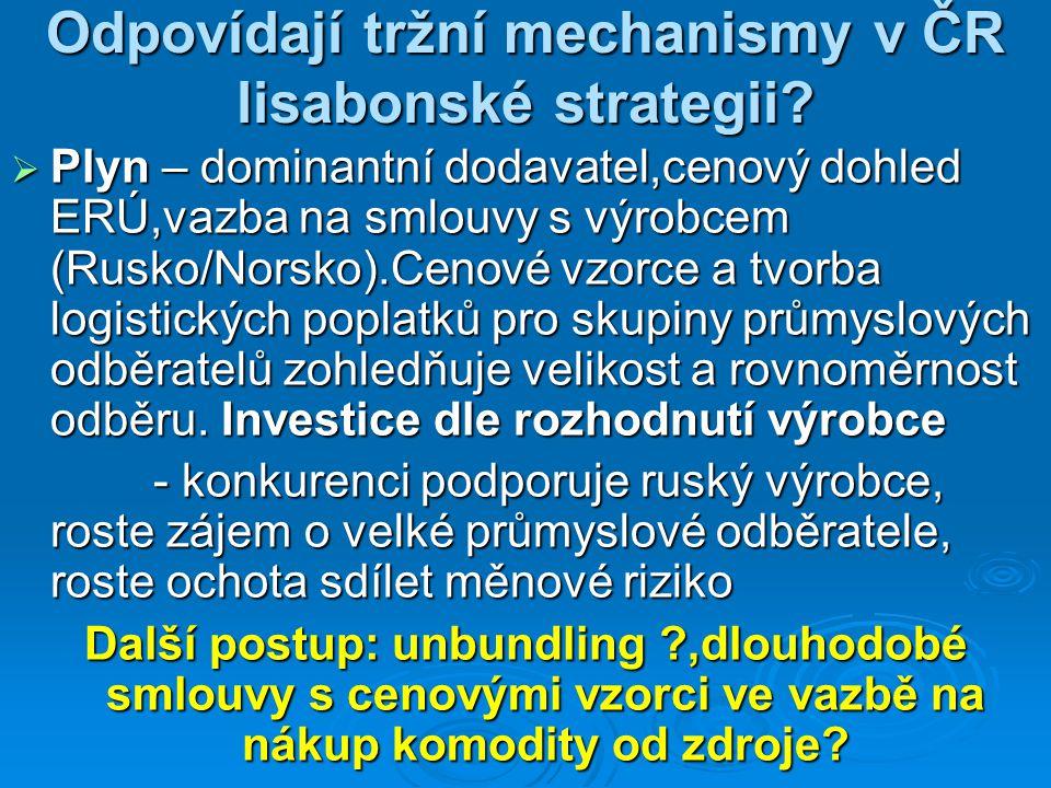 Odpovídají tržní mechanismy v ČR lisabonské strategii?  Plyn – dominantní dodavatel,cenový dohled ERÚ,vazba na smlouvy s výrobcem (Rusko/Norsko).Ceno