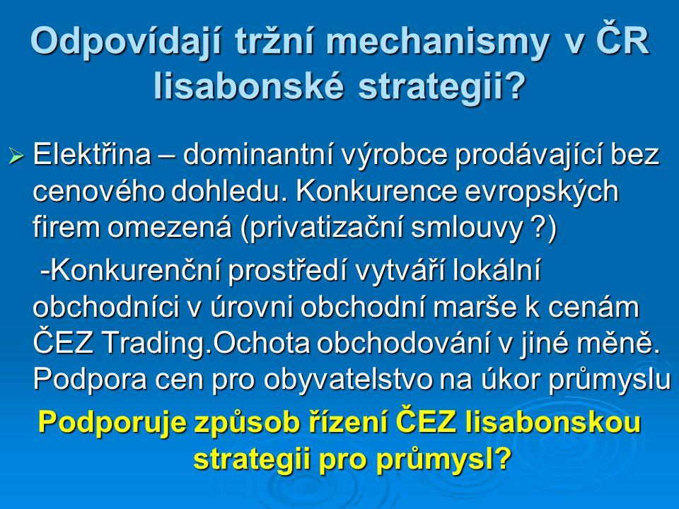 Odpovídají tržní mechanismy v ČR lisabonské strategii?  Elektřina – dominantní výrobce prodávající bez cenového dohledu. Konkurence evropských firem