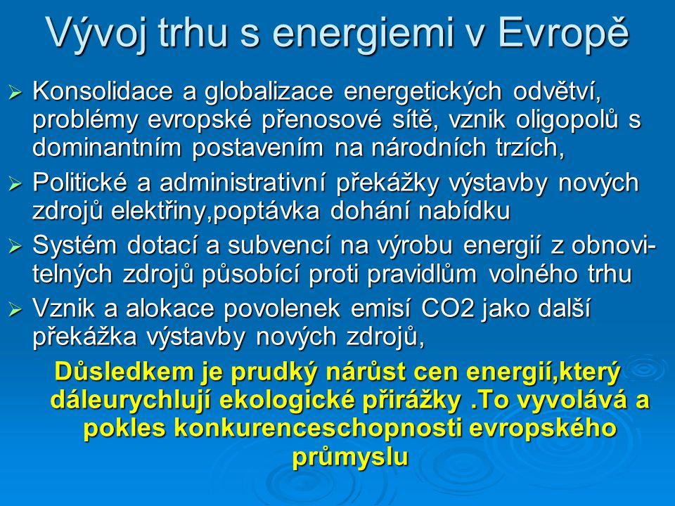Vývoj trhu s energiemi v Evropě  Konsolidace a globalizace energetických odvětví, problémy evropské přenosové sítě, vznik oligopolů s dominantním pos