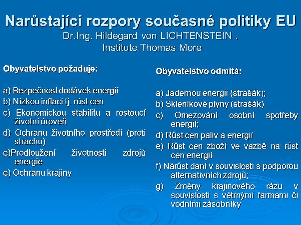 Narůstající rozpory současné politiky EU Dr.Ing. Hildegard von LICHTENSTEIN, Institute Thomas More Obyvatelstvo požaduje: a) Bezpečnost dodávek energi
