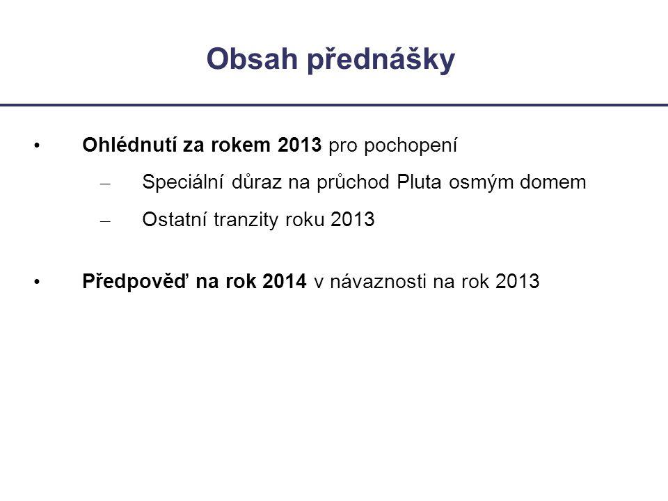 Obsah přednášky • Ohlédnutí za rokem 2013 pro pochopení – Speciální důraz na průchod Pluta osmým domem – Ostatní tranzity roku 2013 • Předpověď na rok