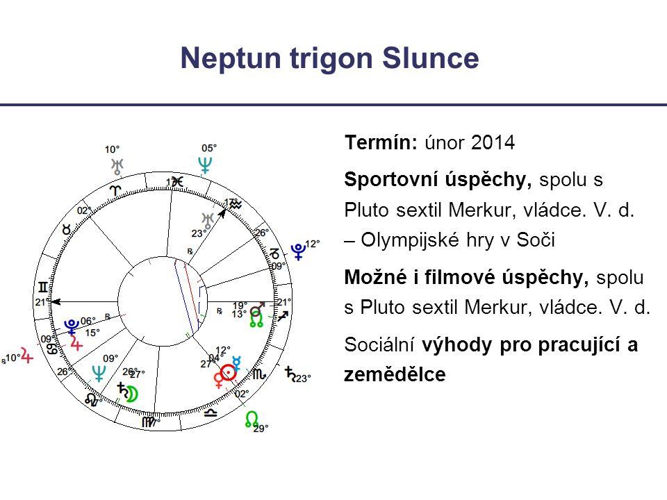 Neptun trigon Slunce Termín: únor 2014 Sportovní úspěchy, spolu s Pluto sextil Merkur, vládce. V. d. – Olympijské hry v Soči Možné i filmové úspěchy,