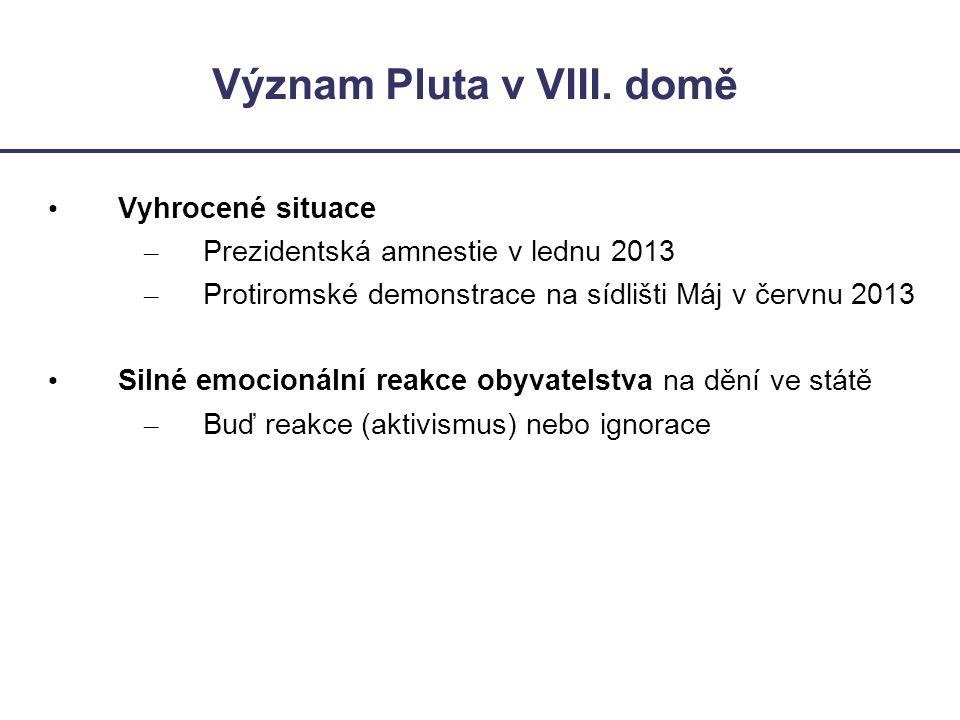 Význam Pluta v VIII. domě • Vyhrocené situace – Prezidentská amnestie v lednu 2013 – Protiromské demonstrace na sídlišti Máj v červnu 2013 • Silné emo
