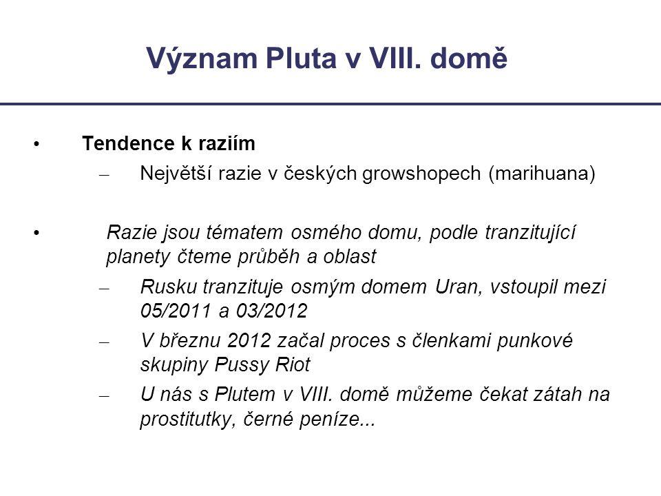 Význam Pluta v VIII. domě • Tendence k raziím – Největší razie v českých growshopech (marihuana) • Razie jsou tématem osmého domu, podle tranzitující