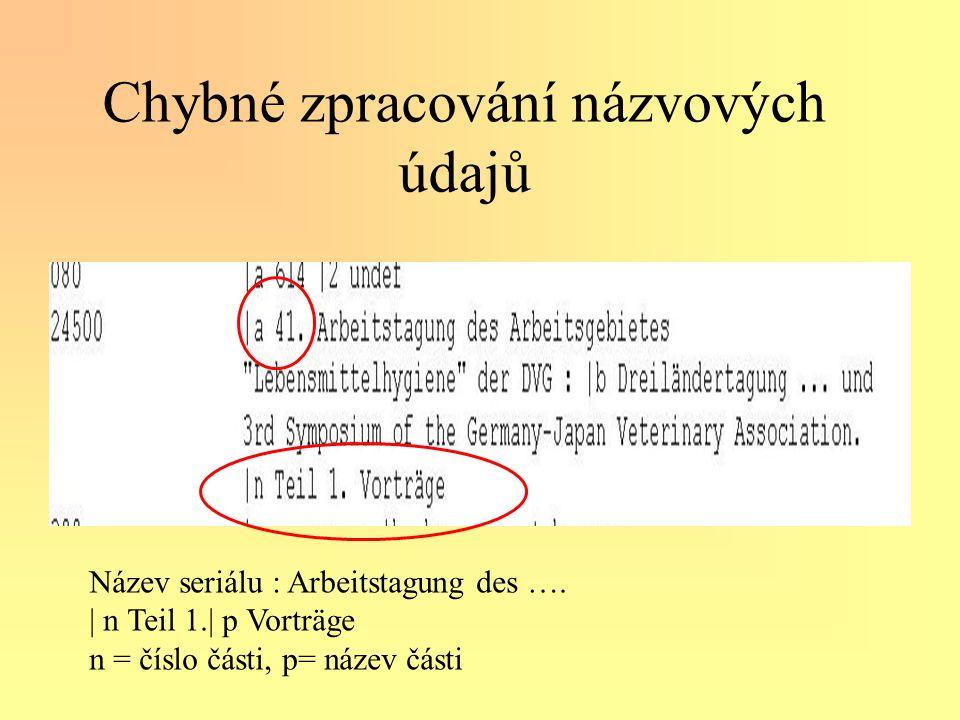Chybné zpracování názvových údajů Název seriálu : Arbeitstagung des ….