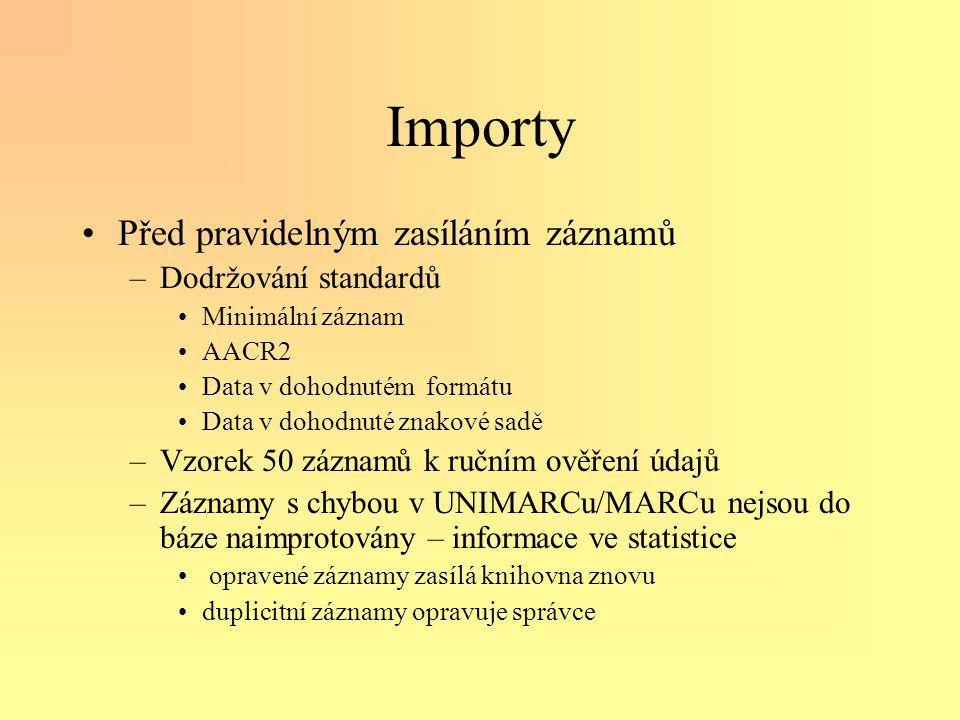 Importy •Před pravidelným zasíláním záznamů –Dodržování standardů •Minimální záznam •AACR2 •Data v dohodnutém formátu •Data v dohodnuté znakové sadě –Vzorek 50 záznamů k ručním ověření údajů –Záznamy s chybou v UNIMARCu/MARCu nejsou do báze naimprotovány – informace ve statistice • opravené záznamy zasílá knihovna znovu •duplicitní záznamy opravuje správce