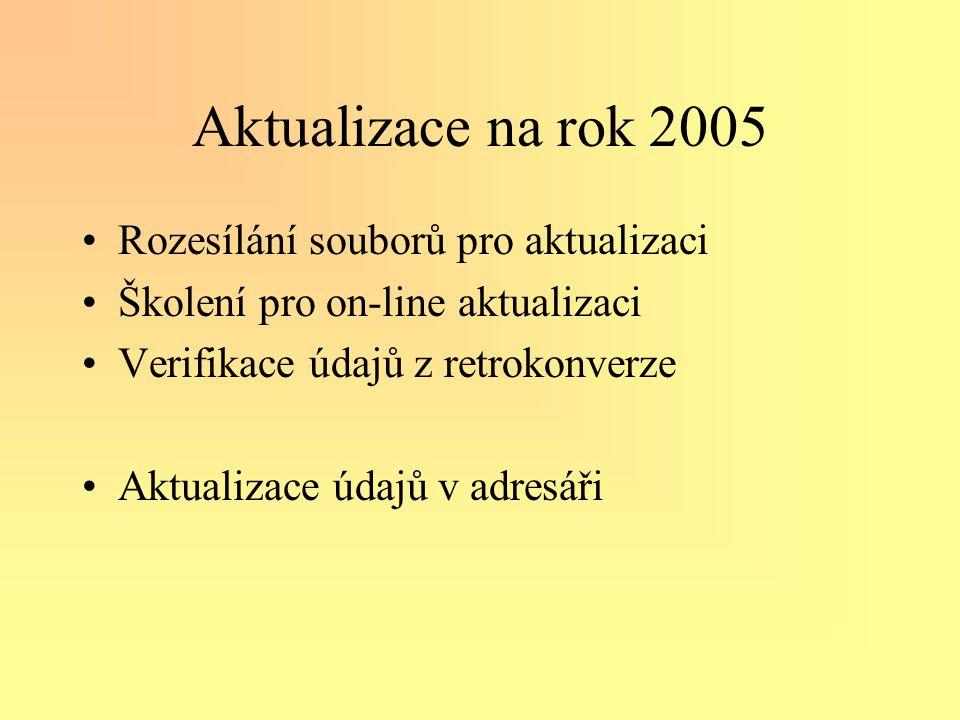 Aktualizace na rok 2005 •Rozesílání souborů pro aktualizaci •Školení pro on-line aktualizaci •Verifikace údajů z retrokonverze •Aktualizace údajů v adresáři