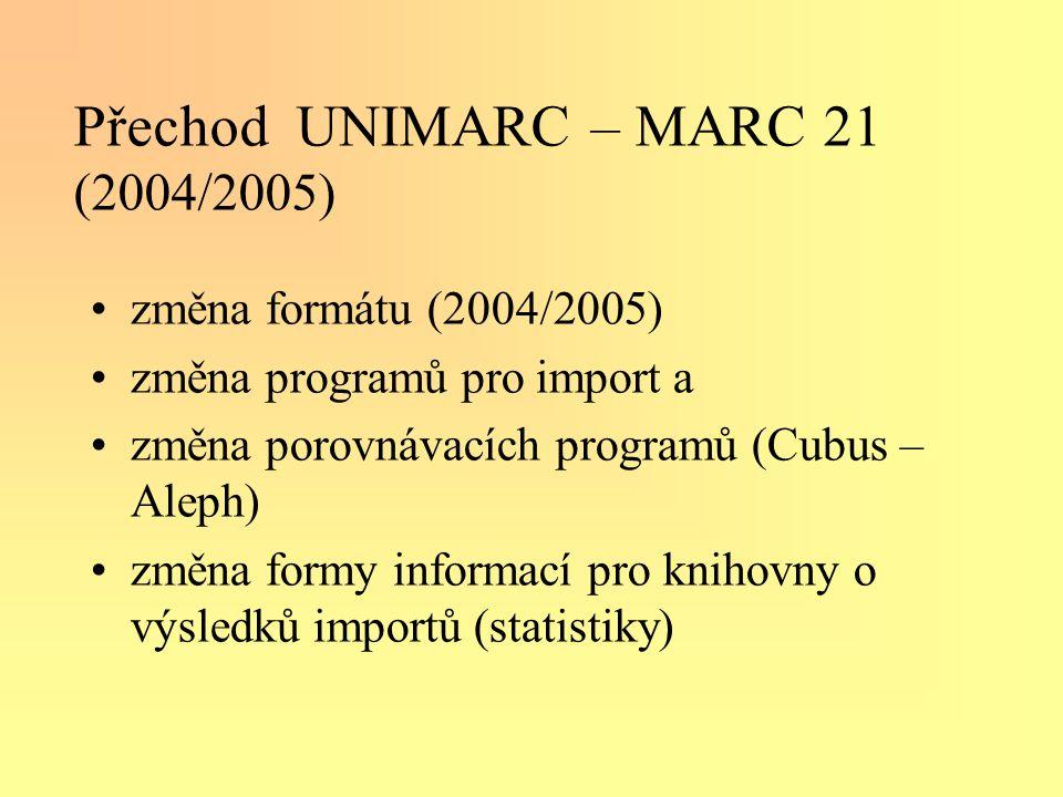 Přechod UNIMARC – MARC 21 (2004/2005) •změna formátu (2004/2005) •změna programů pro import a •změna porovnávacích programů (Cubus – Aleph) •změna formy informací pro knihovny o výsledků importů (statistiky)