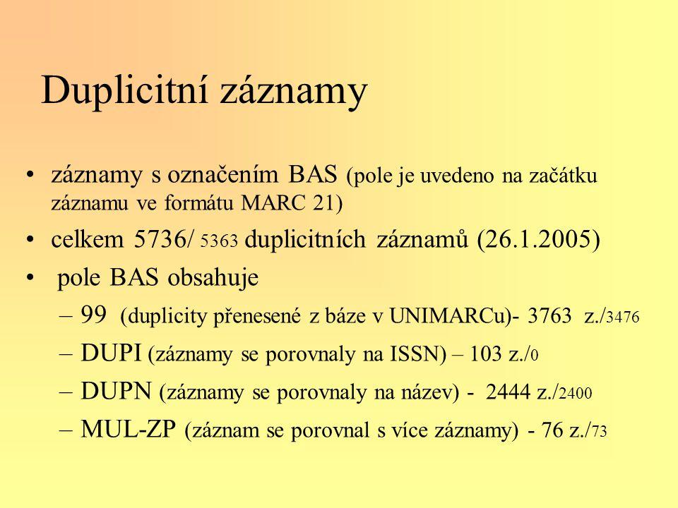 Duplicitní záznamy •záznamy s označením BAS (pole je uvedeno na začátku záznamu ve formátu MARC 21) •celkem 5736/ 5363 duplicitních záznamů (26.1.2005) • pole BAS obsahuje –99 (duplicity přenesené z báze v UNIMARCu)- 3763 z./ 3476 –DUPI (záznamy se porovnaly na ISSN) – 103 z./ 0 –DUPN (záznamy se porovnaly na název) - 2444 z./ 2400 –MUL-ZP (záznam se porovnal s více záznamy) - 76 z./ 73