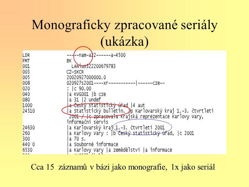Monograficky zpracované seriály (ukázka) Cca 15 záznamů v bázi jako monografie, 1x jako seriál