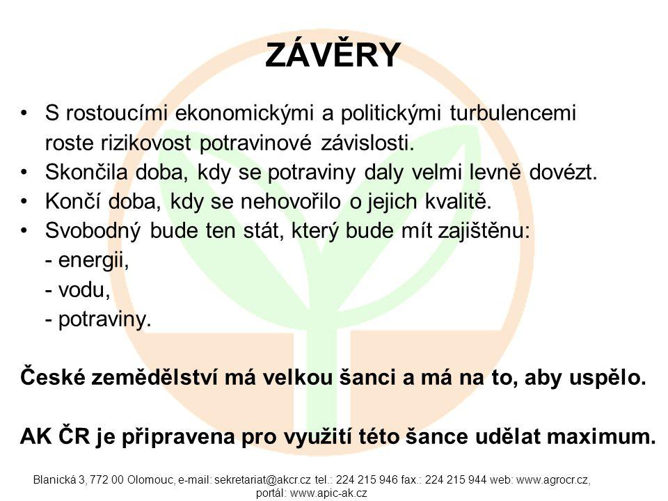 Blanická 3, 772 00 Olomouc, e-mail: sekretariat@akcr.cz tel.: 224 215 946 fax.: 224 215 944 web: www.agrocr.cz, portál: www.apic-ak.cz ZÁVĚRY •S rosto