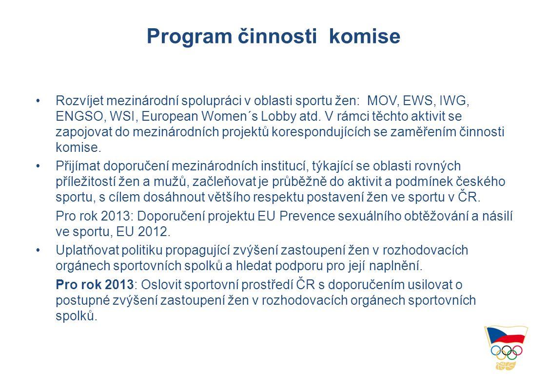 Program činnosti komise •Rozvíjet mezinárodní spolupráci v oblasti sportu žen: MOV, EWS, IWG, ENGSO, WSI, European Women´s Lobby atd.