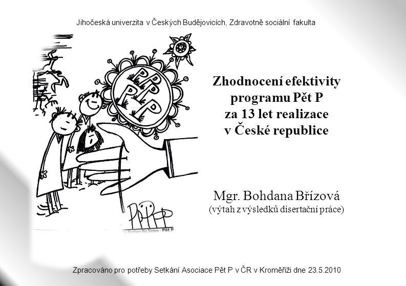 Zhodnocení efektivity programu Pět P za 13 let realizace v České republice Mgr. Bohdana Břízová (výtah z výsledků disertační práce) Jihočeská univerzi