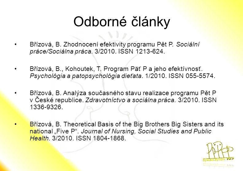Odborné články •Břízová, B. Zhodnocení efektivity programu Pět P. Sociální práce/Sociálna práca. 3/2010. ISSN 1213-624. •Břízová, B., Kohoutek, T. Pro