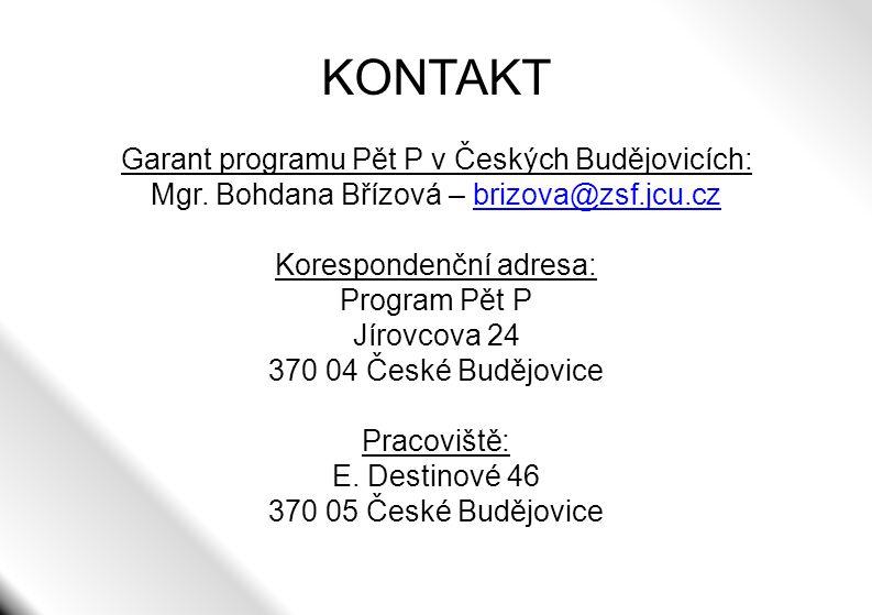 KONTAKT Garant programu Pět P v Českých Budějovicích: Mgr. Bohdana Břízová – brizova@zsf.jcu.czbrizova@zsf.jcu.cz Korespondenční adresa: Program Pět P