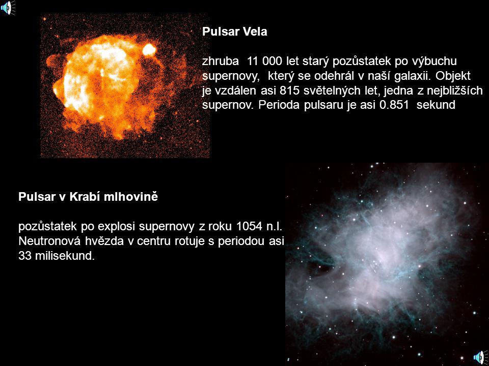 Pulsar Vela zhruba 11 000 let starý pozůstatek po výbuchu supernovy, který se odehrál v naší galaxii. Objekt je vzdálen asi 815 světelných let, jedna