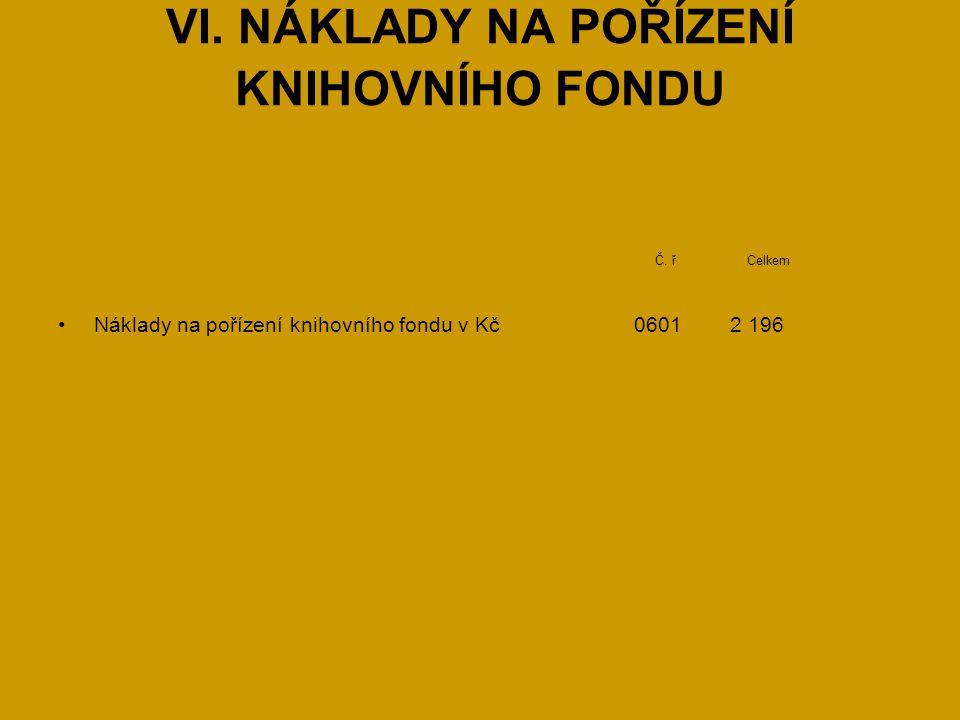 VI. NÁKLADY NA POŘÍZENÍ KNIHOVNÍHO FONDU Č.