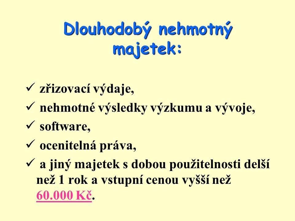 Příklad zrychleného odpisování ultrazvuku (pořizovací cena = 300.000 Kč) 2007300.000 : 5 = 60.000 Kč 2008(240.000 x 2) : 5 = 96.000 Kč 2009(144.000 x 2) : 4 = 72.000 Kč 2010(72.000 x 2) : 3 = 48.000 Kč 2011(24.000 x 2) : 2 = 24.000 Kč Součet = 300.000 Kč