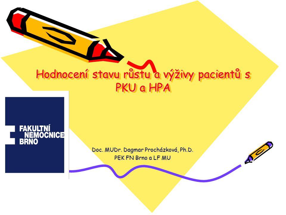 Hodnocení stavu růstu a výživy pacientů s PKU a HPA Doc. MUDr. Dagmar Procházková, Ph.D. PEK FN Brno a LF MU