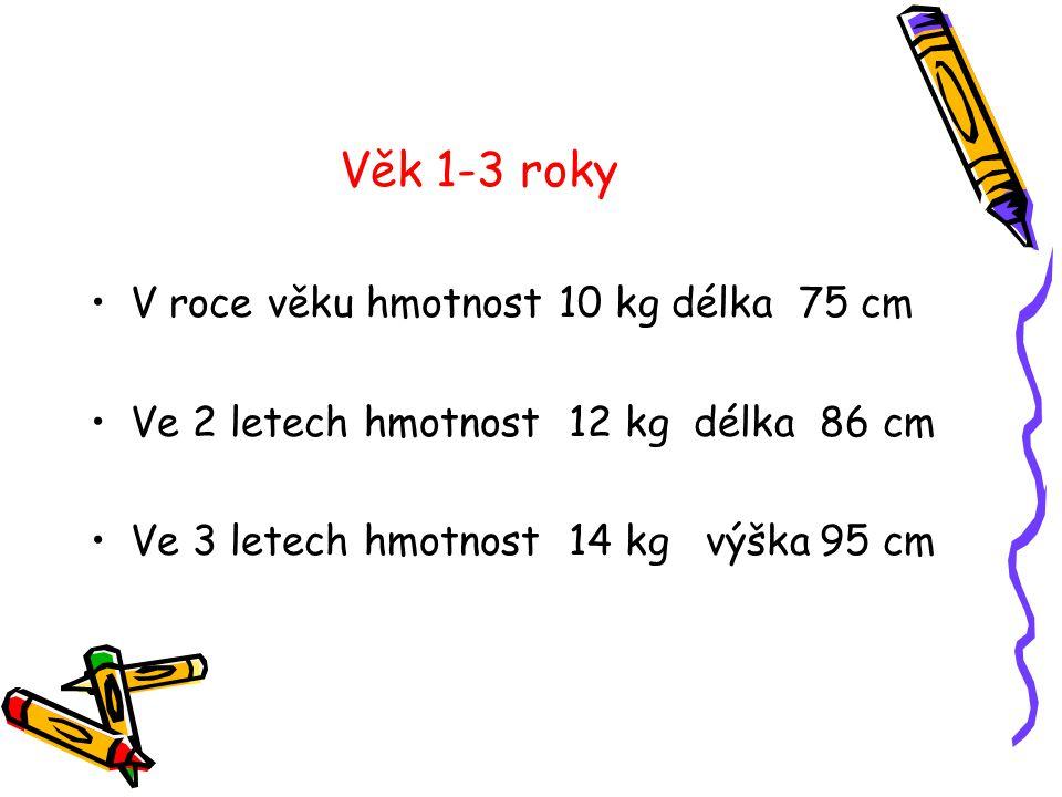Věk 1-3 roky •V roce věku hmotnost 10 kg délka 75 cm •Ve 2 letech hmotnost 12 kg délka 86 cm •Ve 3 letech hmotnost 14 kg výška 95 cm