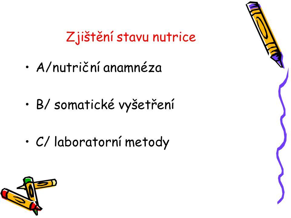 Zjištění stavu nutrice •A/nutriční anamnéza •B/ somatické vyšetření •C/ laboratorní metody