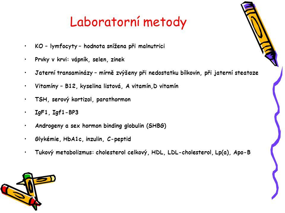 Laboratorní metody •KO – lymfocyty – hodnota snížena při malnutrici •Prvky v krvi: vápník, selen, zinek •Jaterní transaminázy – mírně zvýšeny při nedo