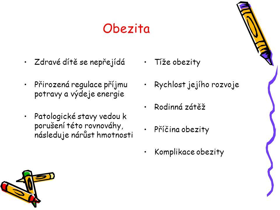 Obezita •Zdravé dítě se nepřejídá •Přirozená regulace příjmu potravy a výdeje energie •Patologické stavy vedou k porušení této rovnováhy, následuje ná