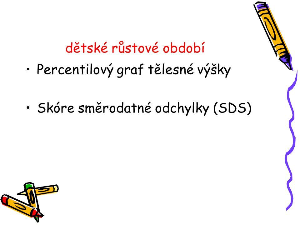 dětské růstové období •Percentilový graf tělesné výšky •Skóre směrodatné odchylky (SDS)