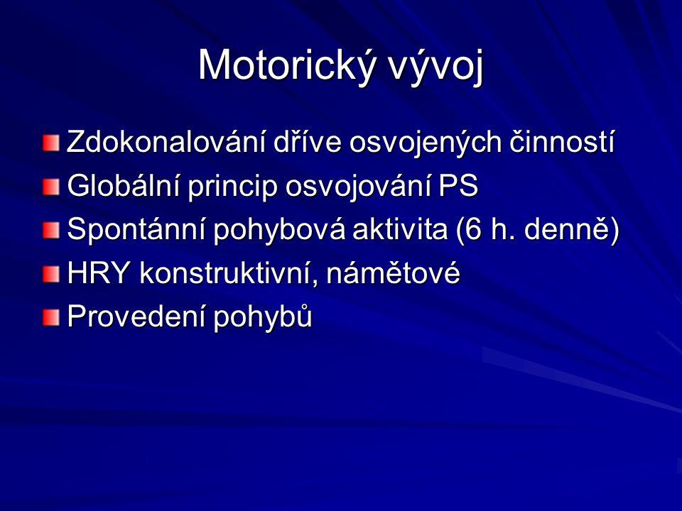 Motorický vývoj Zdokonalování dříve osvojených činností Globální princip osvojování PS Spontánní pohybová aktivita (6 h. denně) HRY konstruktivní, nám
