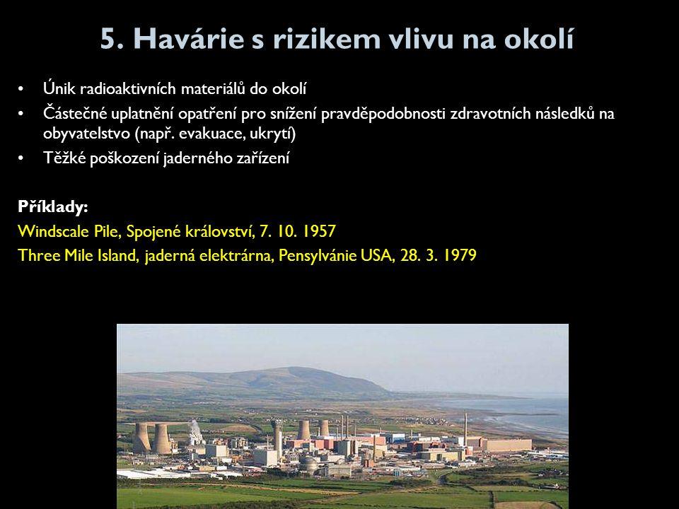 5. Havárie s rizikem vlivu na okolí •Únik radioaktivních materiálů do okolí •Částečné uplatnění opatření pro snížení pravděpodobnosti zdravotních násl
