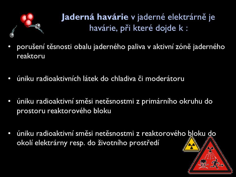 Jaderná havárie v jaderné elektrárně je havárie, při které dojde k : •porušení těsnosti obalu jaderného paliva v aktivní zóně jaderného reaktoru •únik