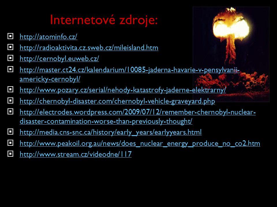 Internetové zdroje:  http://atominfo.cz/ http://atominfo.cz/  http://radioaktivita.cz.sweb.cz/mileisland.htm http://radioaktivita.cz.sweb.cz/mileisl