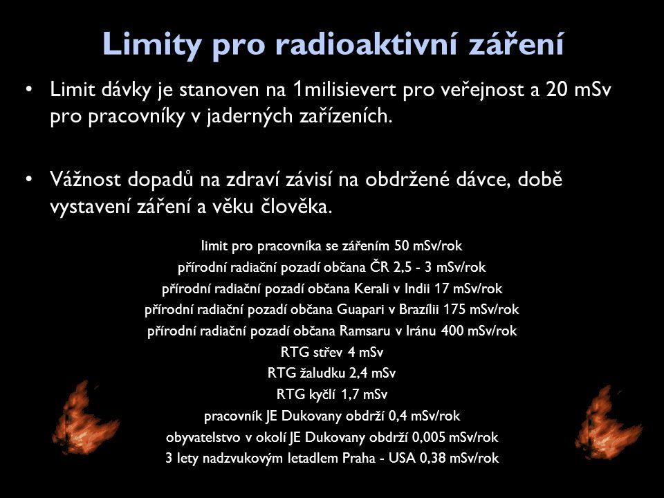 Limity pro radioaktivní záření •Limit dávky je stanoven na 1 milisievert pro veřejnost a 20 mSv pro pracovníky v jaderných zařízeních. •Vážnost dopadů