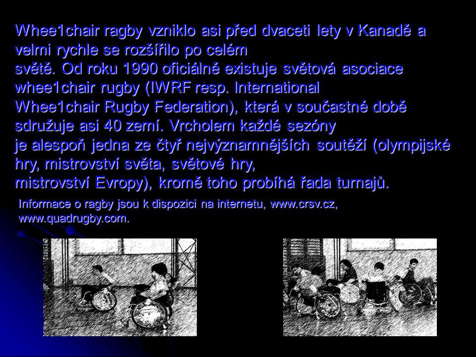 Informace o ragby jsou k dispozici na internetu, www.crsv.cz, www.quadrugby.com. Whee1chair ragby vzniklo asi před dvaceti lety v Kanadě a velmi rychl