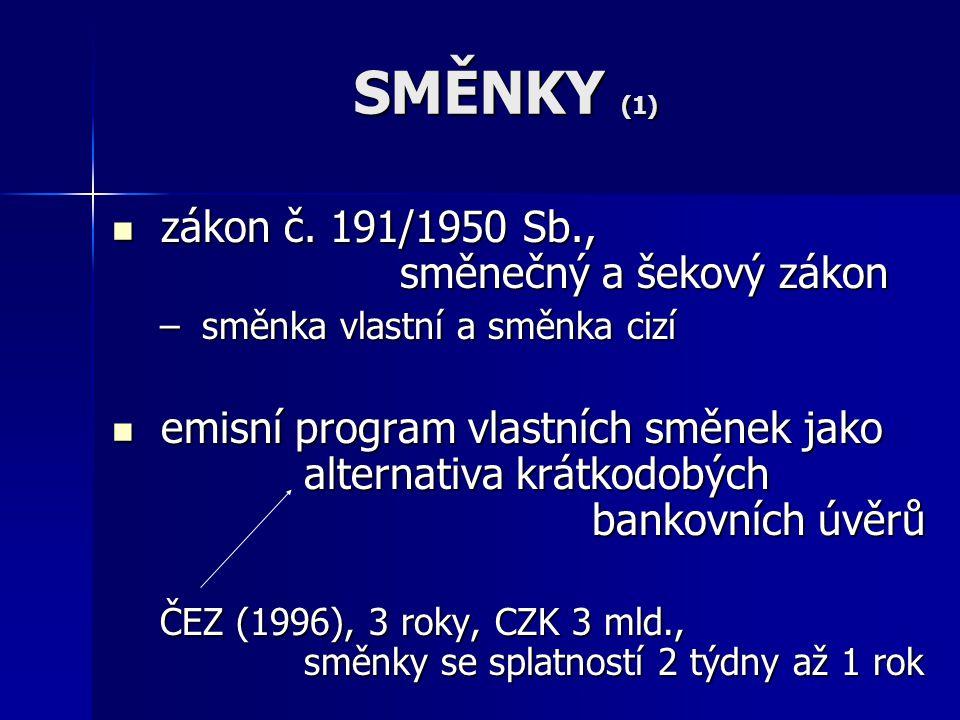 SMĚNKY (1)  zákon č. 191/1950 Sb., směnečný a šekový zákon – směnka vlastní a směnka cizí  emisní program vlastních směnek jako alternativa krátkodo