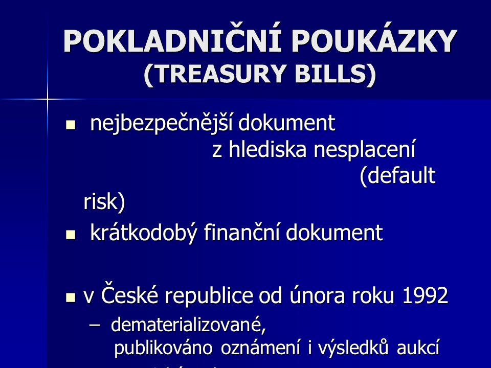 POKLADNIČNÍ POUKÁZKY (TREASURY BILLS)  nejbezpečnější dokument z hlediska nesplacení (default risk)  krátkodobý finanční dokument  v České republic