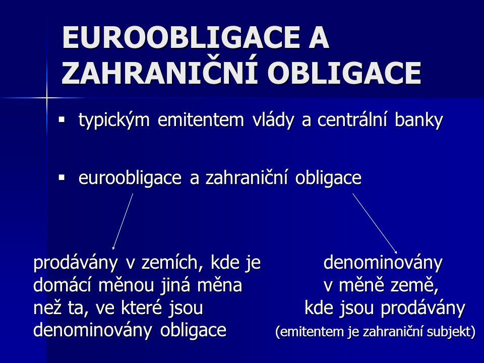EUROOBLIGACE A ZAHRANIČNÍ OBLIGACE  typickým emitentem vlády a centrální banky  euroobligace a zahraniční obligace prodávány v zemích, kde jedenomin