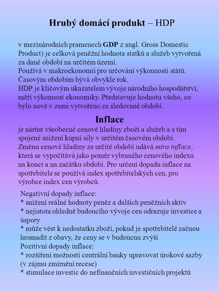 Hrubý domácí produkt – HDP v mezinárodních pramenech GDP z angl.