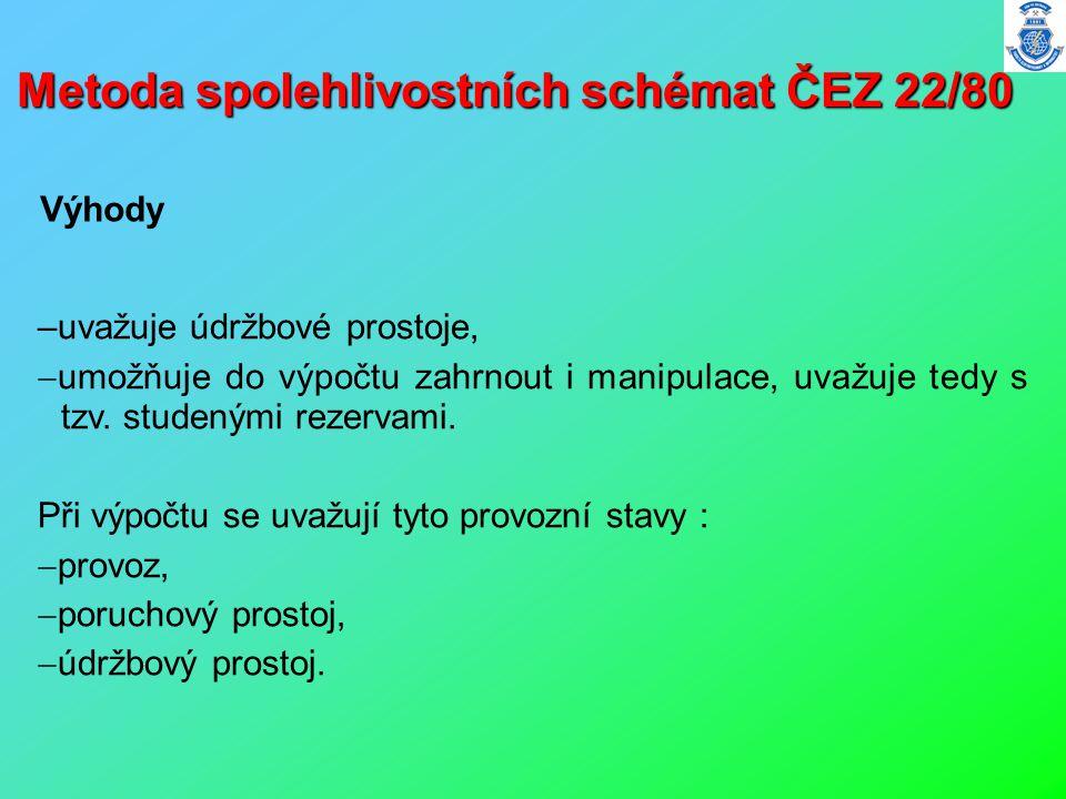 Metoda spolehlivostních schémat ČEZ 22/80 –uvažuje údržbové prostoje,  umožňuje do výpočtu zahrnout i manipulace, uvažuje tedy s tzv. studenými rezer