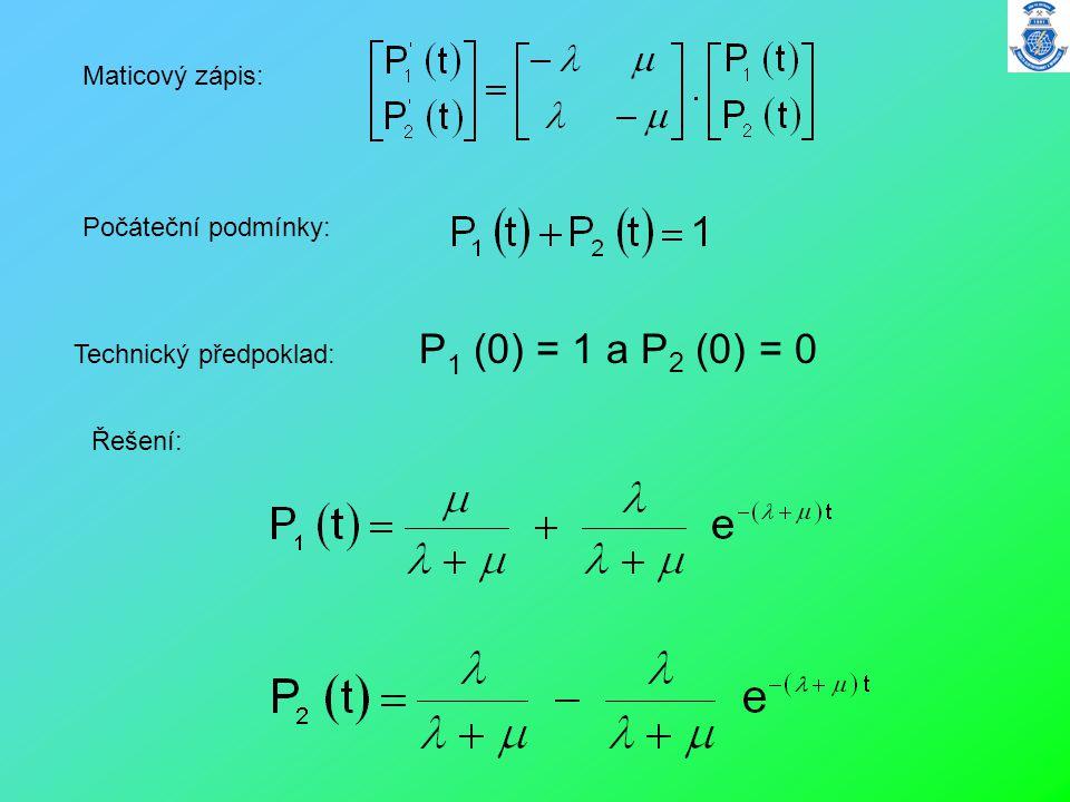 Technický předpoklad: P 1 (0) = 1 a P 2 (0) = 0 Maticový zápis: Počáteční podmínky: Řešení: