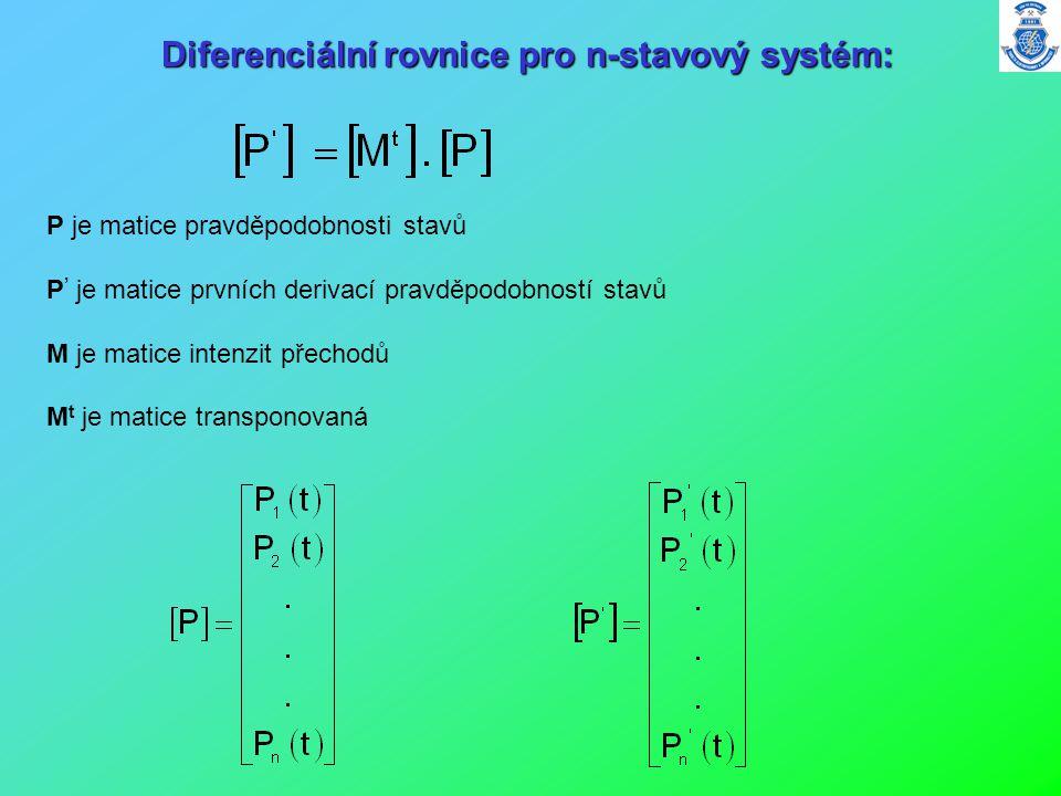 P je matice pravděpodobnosti stavů P ' je matice prvních derivací pravděpodobností stavů M je matice intenzit přechodů M t je matice transponovaná Dif