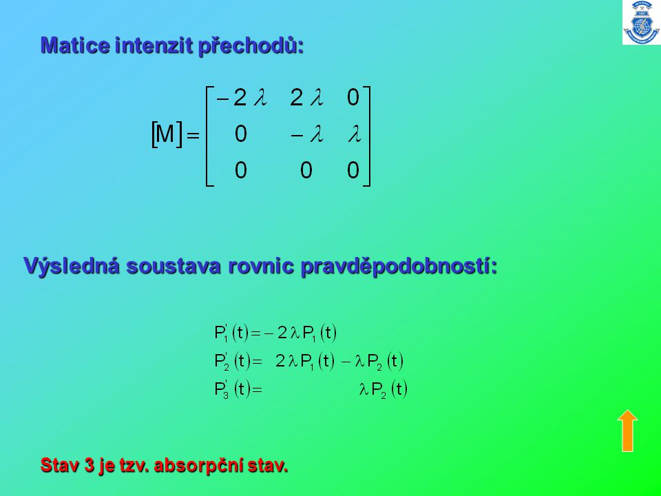 Matice intenzit přechodů: Výsledná soustava rovnic pravděpodobností: Stav 3 je tzv. absorpční stav.