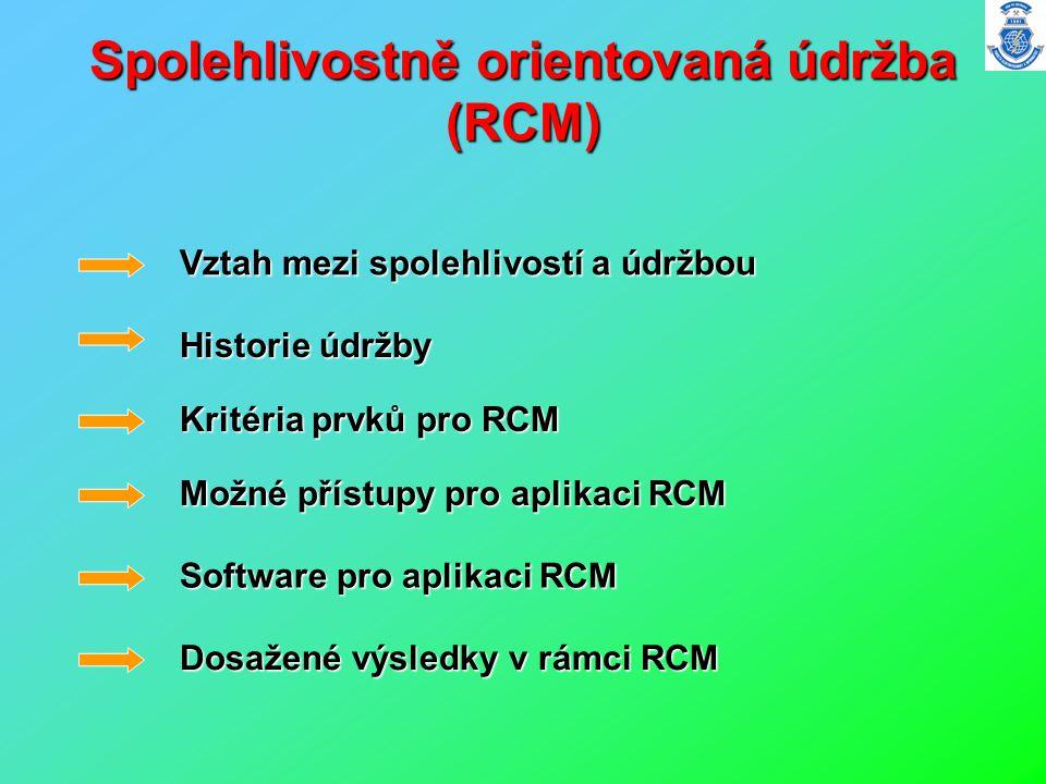 Spolehlivostně orientovaná údržba (RCM) Vztah mezi spolehlivostí a údržbou Historie údržby Kritéria prvků pro RCM Možné přístupy pro aplikaci RCM Soft