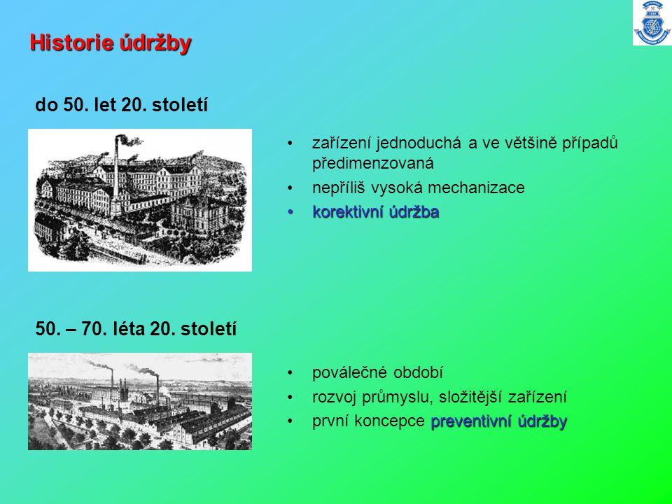 Historie údržby •zařízení jednoduchá a ve většině případů předimenzovaná •nepříliš vysoká mechanizace •korektivní údržba do 50. let 20. století 50. –
